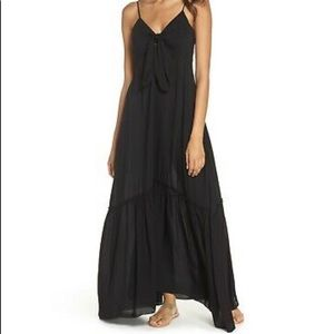 Elan Black Tie Front Maxi Dress Swim Cover Up Lrg